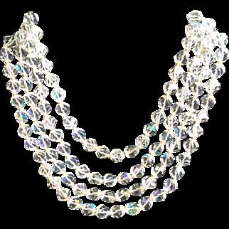 Vintage Four Strand Aurora Borealis Glass Bead Necklace