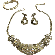 Vintage Baguette Rhinestone Statement Necklace Set