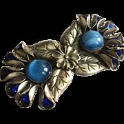 Vintage Nouveau Combination Buckle/Pendant with Blue Rhinestones and Moonstones