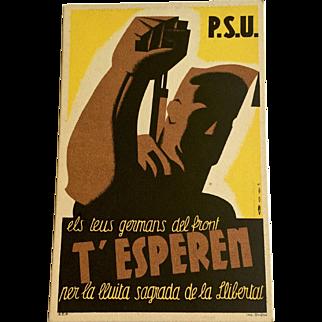 1936 Spanish Civil War Propaganda Postcard, T'esperen- Original