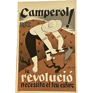 1936 Camperol! Spanish Civil War Propaganda Postcard - Original