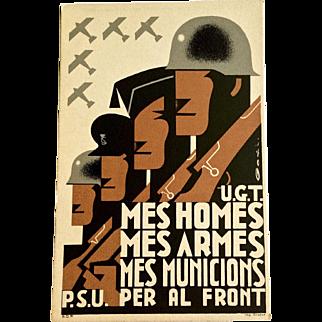 1936 Spanish Civil War Propaganda Postcard - Original