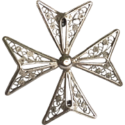 800 Silver Filigree Maltese Cross Brooch
