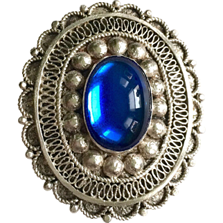 Vintage 830 Silver Brooch with Prussian Blue Cabochon
