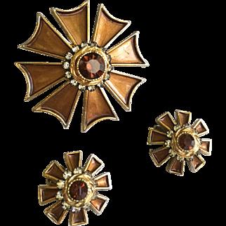 Rare Vintage HAR Signed Maltese Cross Brooch and Earring Set