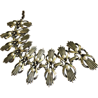 Vintage Tortolani Silver Tone and Costume Pearl Bracelet