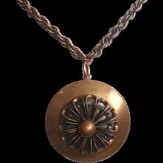 Vintage Rebajes Signed Copper Spinning Spiral Pendant 1940s