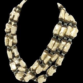 Vintage Nouveau Baroque Costume Pearl Necklace