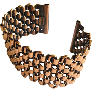 Renoir Copper Basketweave Cuff - 1950s