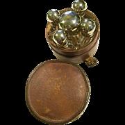 Vintage 6-Piece Perfume Travel Set in Round Leather Case