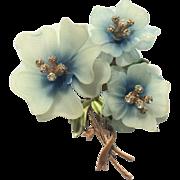 Rare CORO Blue Plastic & Rhinestones Flowers Brooch