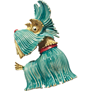 JJ Jonette Vintage Enamel Terrier Dog Brooch