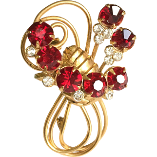 Vintage Red and Gold Flower Bouquet Brooch