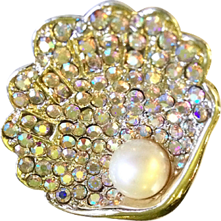 Vintage Oyster Brooch with Aurora Borealis Rhinestones and Costume Pearl