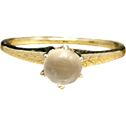 Antique Early 1900s 14 Karat Yellow Gold Engraved Edwardian Moonstone Alternative Engagement Size 6.25 Ring