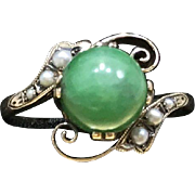 Antique Late 1800s Late Victorian 14 Karat Rose Gold Green Apple Jadeite Jade & Seed Pearl Alternative Engagement Size 5.5 Ring