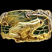 1920s Art Nouveau Diamond 18 Karat Gold Band Plique A Jour Vintage Masriera Size 8.25 Mens Ring