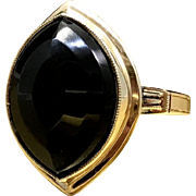 1930s Art Deco Ring Unique Marquise Mixed Cut Black Onyx 10 Karat Gold Ring in Size 4.75