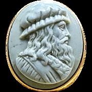 Antique Early 1800s 14 Karat Rose Gold Engraved Victorian Leonardo Da Vinci Blue Lava Cameo Men's Ring