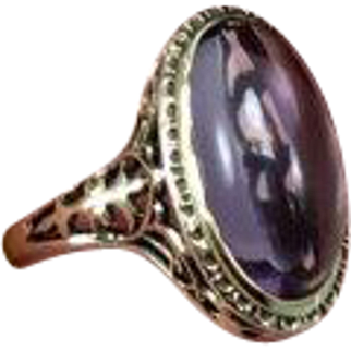Antique Edwardian Unique Early 1900s Amethyst Engagement Ring Crafted in 14 Karat Gold in Size 6 1/2