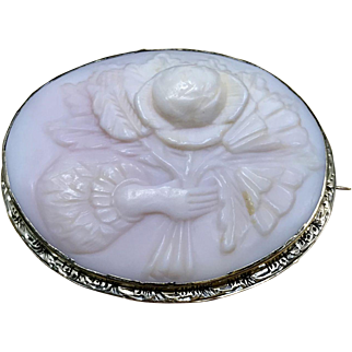 Antique Coral Brooch Carved from Angel Skin Coral, in Medium Relief, Depicting a Bunch of Peonies and Crafted from 8 Karat Rose Gold