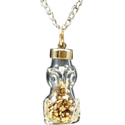 Unique Owl Pendant Hand blown Artisan Crafted Glass Jar Owl Figure Pendant Filled with Loose 14 Karat Gold Shavings Finished with 14 Karat Gold