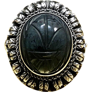 1920s Vintage Carved Quarts - Hawk Eye - Blue Tigers Eye Egyptian Revival Scarab Beetle Silver Statement Ring in Size 4.5