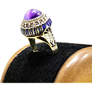 Unique 1920s Asian Art Deco Era Vintage Amethyst Cabochon 925 Sterling Silver Chinese Filigree Blue Enamel Adjustable Ring
