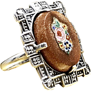 Vintage Art Deco 1920s - 1930s Unique and Intricately Detailed Marked 950 Sterling Silver Goldstone and Italian Micro Mosaic Floral Tile Inlay Resizable Christmas Gift Ring