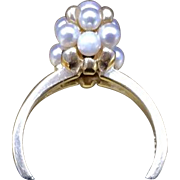 Unique Vintage 1980s Genuine Pearl and 14k Gold Bead Beehive Cluster Promise Diamond Alternative Engagement Ring Currently Size 7.5