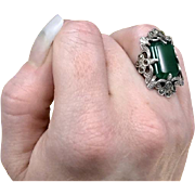 Large Unique Green Vintage 1920s Late Art Nouveau Early Art Deco Cocktail Ring Featuring Chrysoprase and Marcasites Crafted from 800 Silver Currently a Size 5