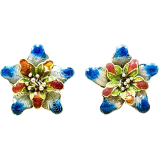 Vintage 1920s Late Art Nouveau - Early Art Deco Chinese Filigree Flower Post Earrings Featuring Red Blue, White, and Green Enameling and Push on Backings