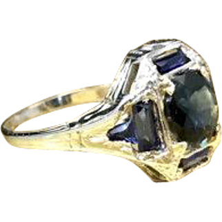 Antique Early 1900s Late Edwardian - Early Art Deco Natural Sapphire and Created Sapphire Engagement Ring Crafted in Engraved 18 Karat White Gold Currently Size 4.5