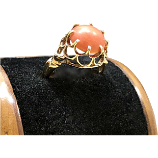 1960s Vintage Mid Century Modern - Minimalist Unique Salmon Coral Alternative Engagement Ring or Promise Ring Crafted in 14 Karat Gold Currently a Size 6.5
