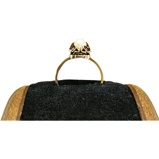 Antique Mid 1800s Victorian Pearl Engagement Ring or Promise Ring Featuring Unique Prongs and Crafted During the Mourning Period from 18 Karat Rose Gold Currently a Size 5.5