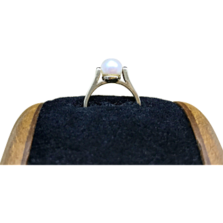 Vintage 1960s Mid Century Modernist - Minimalist Pearl Ring Featuring a Unique Two Prong Setting in 10 Karat Gold Resizable Christmas Giftable Pinky Ring for Her