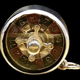 Unique Vintage 1940s Mid Century Las Vegas Casino Gambling Game Roulette Wheel Necklace Charm Pendant in 800 Silver Includes Movable Parts Unique Christmas Gift Necklace For Him