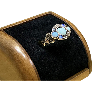 Mid 1800s Mid Victorian Pave Set Opal and Seed Pearl Cluster Ring or Opal Promise Ring Crafted in 8 Karat Rose Gold October Birthstone Ring and Antique Rose Gold Christmas Gift Ring for Her