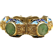 Antique Early 1900s Art Nouveau Carved Jadeite Jade Enameled Gilded Sterling Silver Chinese Filigree Bracelet Antique Christmas Gift Bracelet for Her