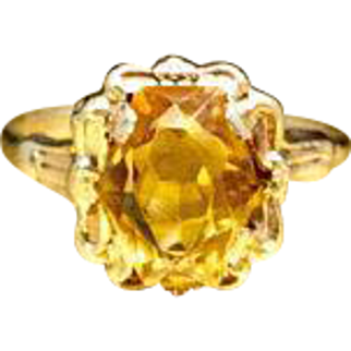 Vintage Late Edwardian - Early Art Deco Fancy Mixed Hexagonal Cut Citrine Engagement Ring 9 Karat Gold Citrine Promise Ring Resizable Christmas Gift Ring for Her