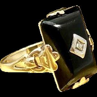 Unique Black Art Deco Ring 10 Karat Rose Gold and 10 Karat Gold 1930s Onyx Engagement Ring Onyx Promise Ring Giftable Resizable Diamond Ring for Christmas
