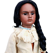 BAHR & PROSCHILD  indian redskin doll, closed mouth,  marked 244 size 5