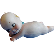 1920s all Bisque,  Lounging on Belly Chubby Kewpie, Rose O'Neill, about 4 inches long