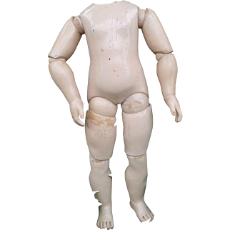 Extremely rare wooden body Jumeau, dated 1880' , for Portrait or EJ dolls, Size 1. Height 12.5 inches (31.5 cm)