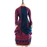 Antique Wonderful Georgian child's bustle dress, silk satin brocade plum red navy trim