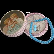 original blue Jumeau necklace in box