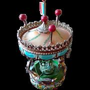 "Musical carousel, handmade in copper and iron, handpainted , ( Manège musical en tôle peinte "" Sérénade "" ) . Creation Hartmann"