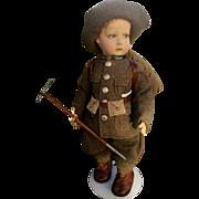 "Extremely rare Lenci felt doll 300 doll with ""Alpine"" dress,  high 18 inches ( 45 cm )"