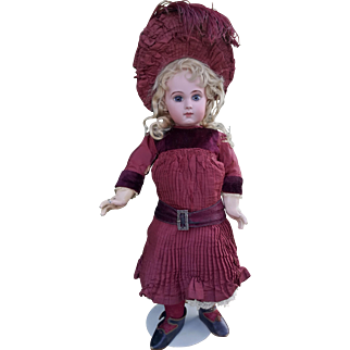 Antique Jumeau  EJ DEPOSE'  doll , size 9 , high 21 inches