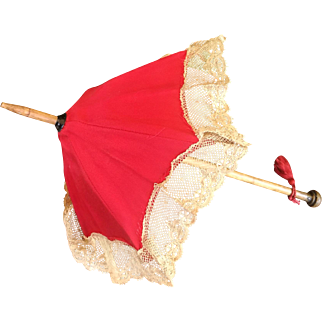 Antique  umbrella / parasol for dolls , high about 11,5 inches  (29 cm)